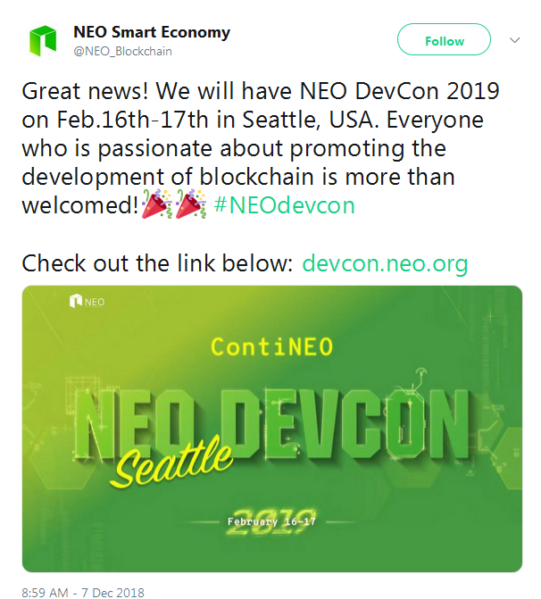NEO events: airdrop, hard fork, listing