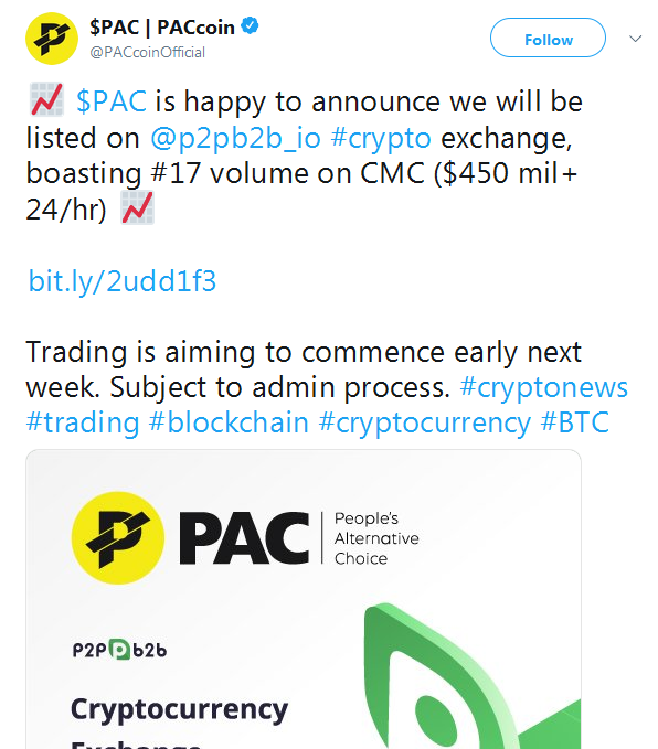 pac cryptocurrency price