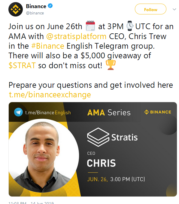Stratis STRAT: AMA on Binance Telegram — Coindar org