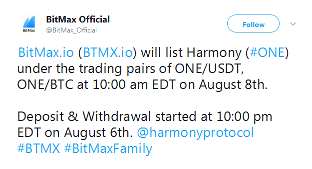Harmony ONE events: airdrop, hard fork, listing