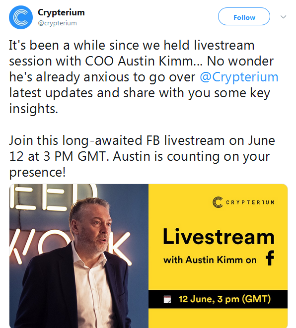 Crypterium CRPT: Live Stream on Facebook — Coindar org